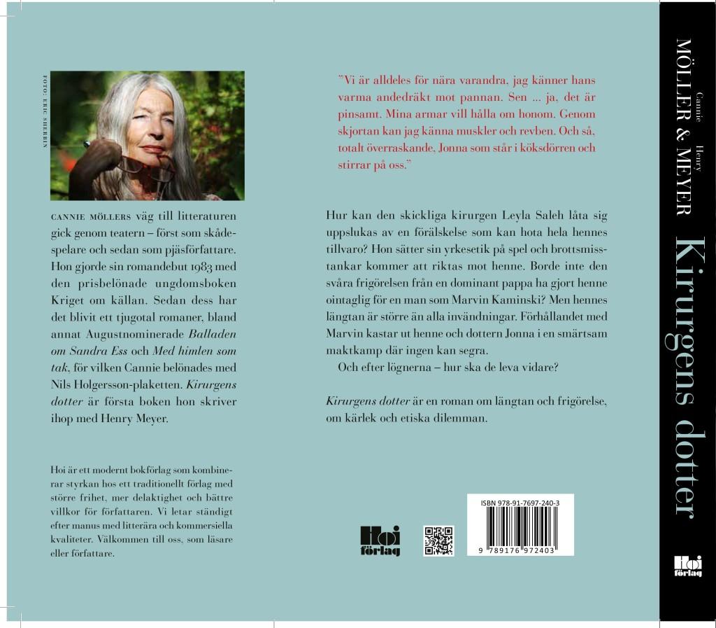 """Baksidan av boken """"Kirurgens dotter"""" och författaren Cannie Möller"""